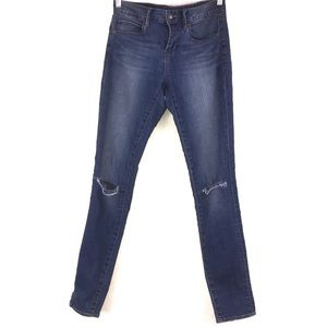 Split Knee Distressed Medium Wash Skinny Jeans